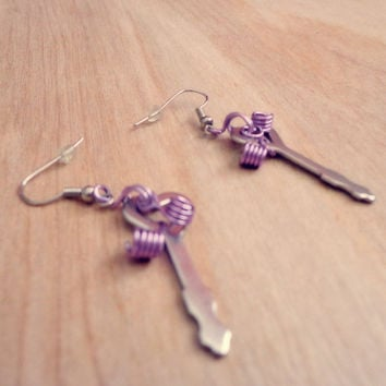 Heart Shaped Diary Key Dangle Earrings