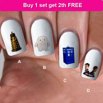 buy 1 get 1 free, 60 NAIL DECALS,  doctor dr who, Nail Art,  Water Slide Decals Nail,Nail Art design, Nail Transfers, WHO12