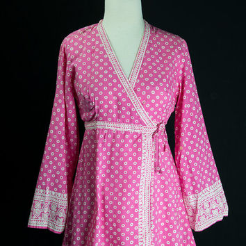 Vintage Hot Pink Indian Babydoll Peasant Top Boho Wrap Festival Blouse