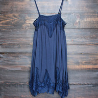 unforgettable slip dress with lace hem in navy