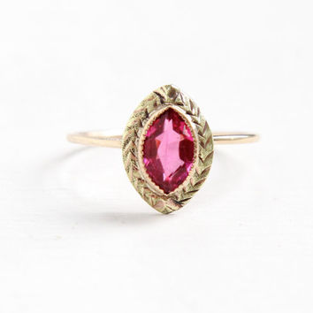 Antique Art Deco 10K Yellow & Rose Gold Simulated Pink Sapphire Ring- Vintage Size 6 1/4 Etched Marquise Glass Fine Jewelry