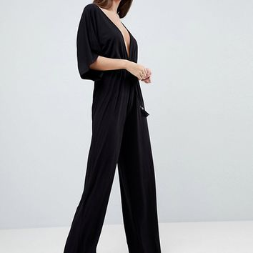 ASOS Jersey Plunge Jumpsuit with Kimono Sleeve and Rope Tie at asos.com
