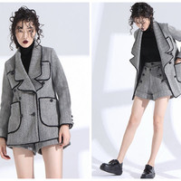 wool coat women,gray coat,wool jacket,double breasted coat,double breasted jacket,womens coat,women jacket,fashion coat,fashion jacket-E0796
