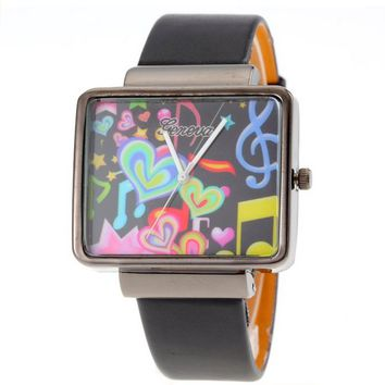 Unisex Rectangle Face Black Leather Band Strap Rainbow Heart Watch