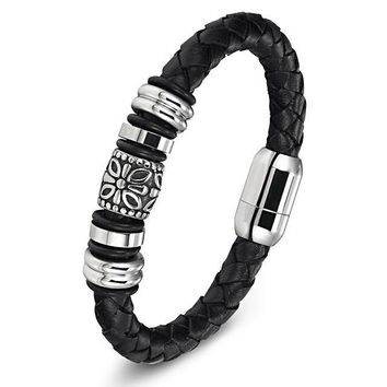 Genuine Leather Snake Chain Magnetic Buckle Bracelet