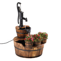 Zingz & Thingz Well Pump Wood and Iron Garden Fountain