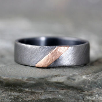 14K Rose Gold & Sterling Silver Band - Brushed Texture - Men's or Ladies Jewellery - 6mm Wedding Bands - Comittment Ring - Stacking Ring