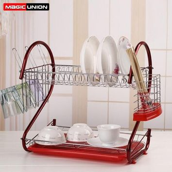 Magic Union 2-Tier Dish Drying Rack Stainless Steel Drainer Kitchen Storage Red/Silver