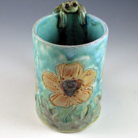 green frog, yellow poppy mug