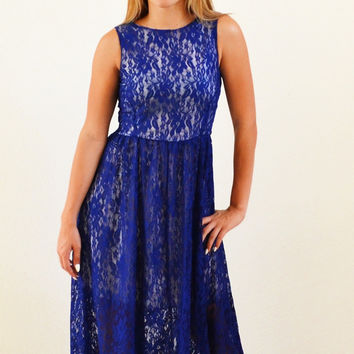 Dreamy Blue Maxi  Sleeveless Dress