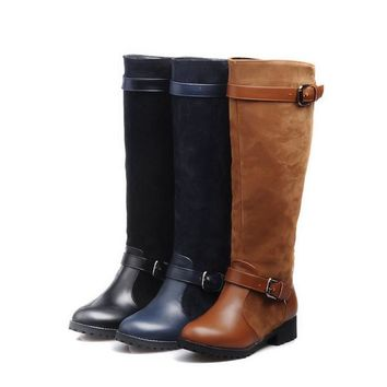 Round Toe Buckle Strap Knee High Flat Boot*