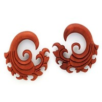 0G 8MM Wave Floral Tribal Tsunami Sawo Wood Ear Gauge Plug Organic (SOLD AS PAIR)