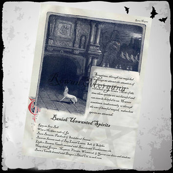BANISH SPIRITS SPELL,  Digital Download, Book of Shadows Page, Grimoire, Scrapbook, Spells