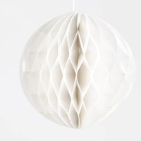 8cm WHITE MINI HONEYCOMB Ball - Mini White Tissue Paper Honeycomb Pom Pom Ball Lantern (8cm / Approx 3 Inches Diameter )