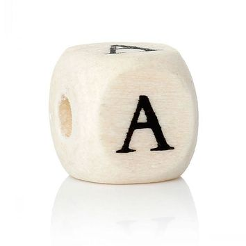 "Doreen Box Wood Spacer Beads Cube Natural Alphabet/Letter ""A"" Pattern About 10mm x 10mm(3/8"" x 3/8""),Hole:Approx:4mm,300PCs"