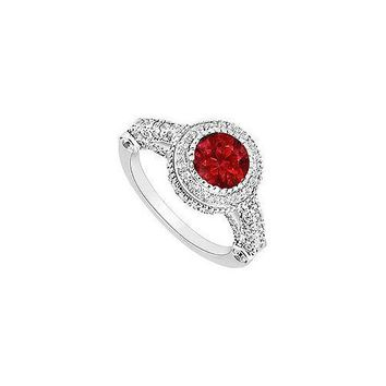 Ruby and Diamond Halo Engagement Ring : 14K White Gold - 2.00 CT TGW