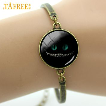 TAFREE Smiley Cat bracelet Alice in Wonderland Jewelry cute women girls bracelet Smiling Cat Bangles gift for lover B219