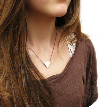 Geometric Triangle Simple Pendant Necklace in Hand by byjodi
