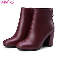 VALLKIN 2018 Zippers Solid Women Boots Vintage Style Ankle Boots Square High Heel Square Toe Ladies Fashion Boots Size 34-39