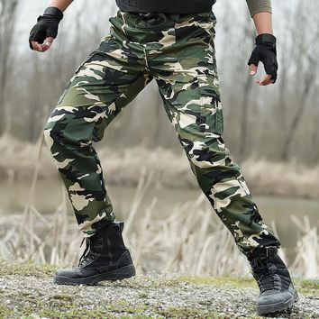 Camouflage Cargo Pants Tactical Military SWAT Combat Pants Army Style SWAT Active Men Casual Working Paintball Camo Trousers