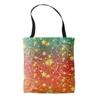 Golden Stars and Circles on A Gradient Background Tote Bag