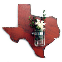 Texas State with Re-purposed Mason Jar Vase/Candle holder  (Pictured in Brick) Pine Wood Sign Wall Decor Rustic Americana Country Chic