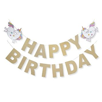 Unicorn Rainbow Gold Glitter Happy Birthday Banner Birthday Party Decoration