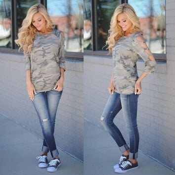 Chicloth Gray Camouflage T-shirt
