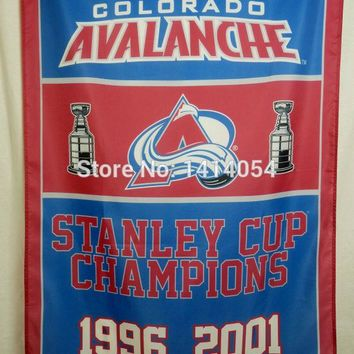 Colorado Avalanche Stanley Cup Champions Flag 150X90CM NHL 3X5FT Banner 100D Polyester flag grommets 009, free shipping