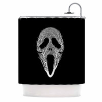 "BarmalisiRTB ""The Scream Tree"" Black White Shower Curtain"