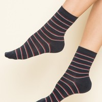 Navy Red and White Thin Stripe Socks - Accessories