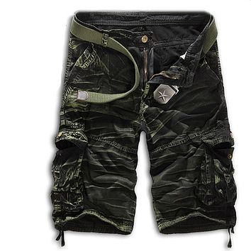 Men Casual Army Combat Camo Camouflage Overall Short Pants