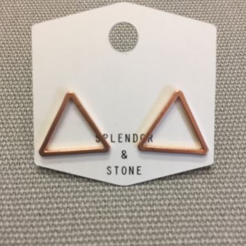 Large Rose Gold Triangle Studs
