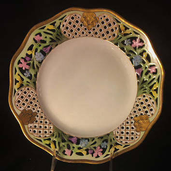 Schumann Dresden Scalloped Lattice Gold, Yellow and Green Deep Porcelain Plate