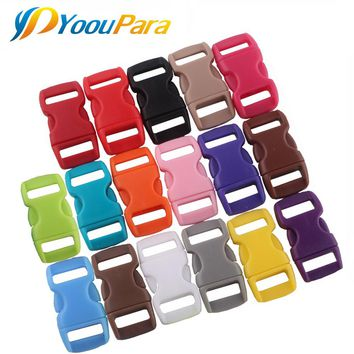 """100 Ps 3/8"""" Colorful Plastic Buckle for Paracord Survival Bracelets Straps Webbing Contoured Side Release Curved Clasp Buckles"""