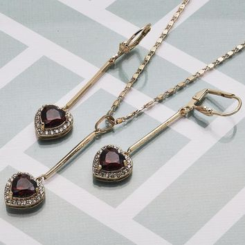 Gold Layered Women Heart Necklace and Earring, with Garnet Cubic Zirconia, by Folks Jewelry
