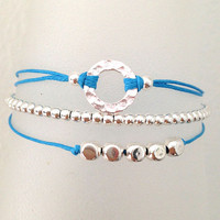 Triple Silver Friendship Bracelet with Adjustable Cord in Turquoise