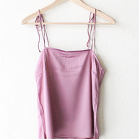 Tie-Shoulder Tank Top - Mauve