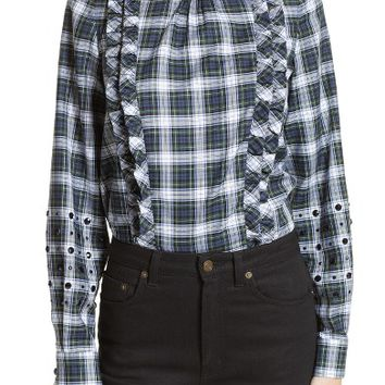 N°21 Crystal Embellished Plaid Shirt | Nordstrom