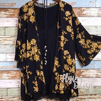 Plus Size Black and Gold Kimono Cardigan