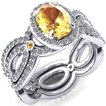 Polaris Oval Yellow Sapphire Diamond Halo Full Eternity Yellow Sapphire Bezel Diamond Accent Ring