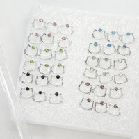 Pack of 18 Color Crystal Hello Kitty Fashion Stud Earrings for Girls Kids Women