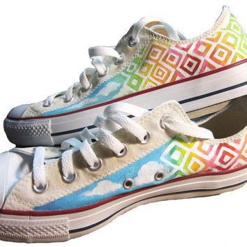 Custom painted Converse shoes Sky Shoes by ashleywhitejacobsen