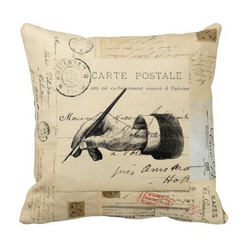 Vintage Fountain Pen French Postcard Art Pillow