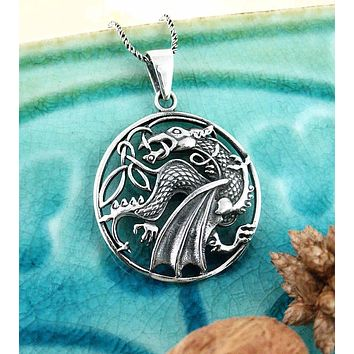 Round Cut-Out Winged Dragon Necklace