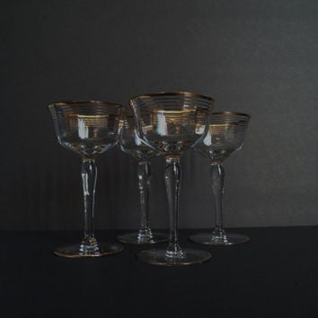 Vintage Gold Rim Cordial, Liqueur, Shot Glasses / Stemmed Crystal / Set of 4 / Stemware / Holiday Barware / 1950's / New Year's