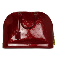LOUIS VUITTON Red Monogram Vernis Alma GM, rt.$3100