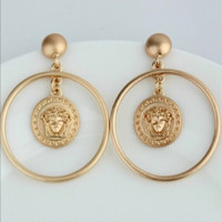 VERSACE :The new Medusa earrings female long section Han fashion jewelry large earrings temperament earrings