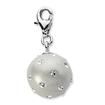 925 Sterling Silver 3D Pale Orb with Bright Crystals Dangling Charm