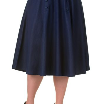 Banned Vintage Style High Waist Denim Double Button Panel A Line Midi Skirt